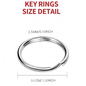ADD GEAR DIY Nickel Plated Key Ring Steel Round 1.2 inch (30 mm) Split Ring Key Rings for Car Home Keys, Arts & Crafts