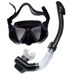 ADD GEAR Silicone Diving Mask Anti-Fog Goggles Glasses + Snorkel Breathing Tube Set