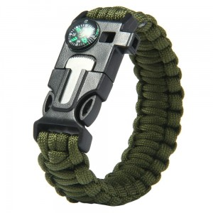 Survival Bracelet Flint Fire Starter with Compass