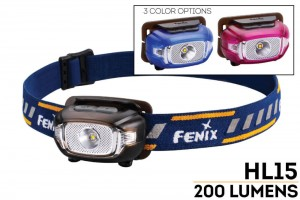 Fenix HL15 LED Running Headlamp (2xAAA, 200 Lumens) with White and Red Output