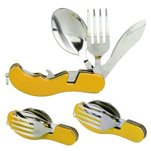 Folding Knife + Fork + Spoon Camping 3 in 1 Pocket multi tool
