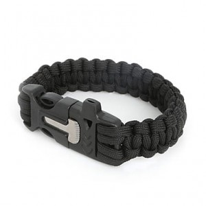Paracord Bracelet– Survival Thick Strap Bracelet Kit With Buckle Clip/Whistle/Metal Firestarter Flint/Knife
